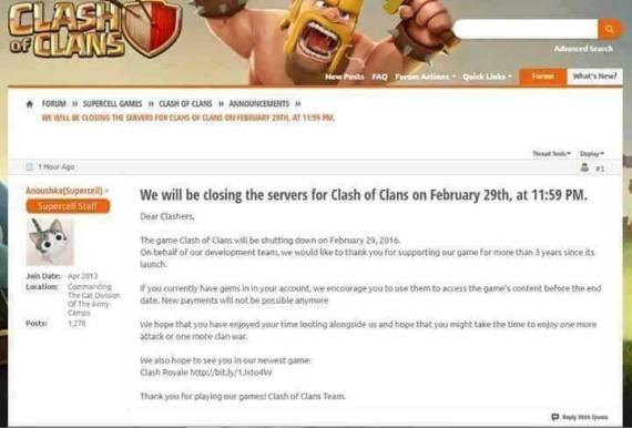 Clash of Clans Ditutup HOAX